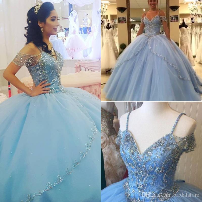 Elegant light blue quinceanera dresses masquerade Spaghetti Straps Bling Beaded Crystal sweet 15 dresses ball gown puffy prom dresses 2019