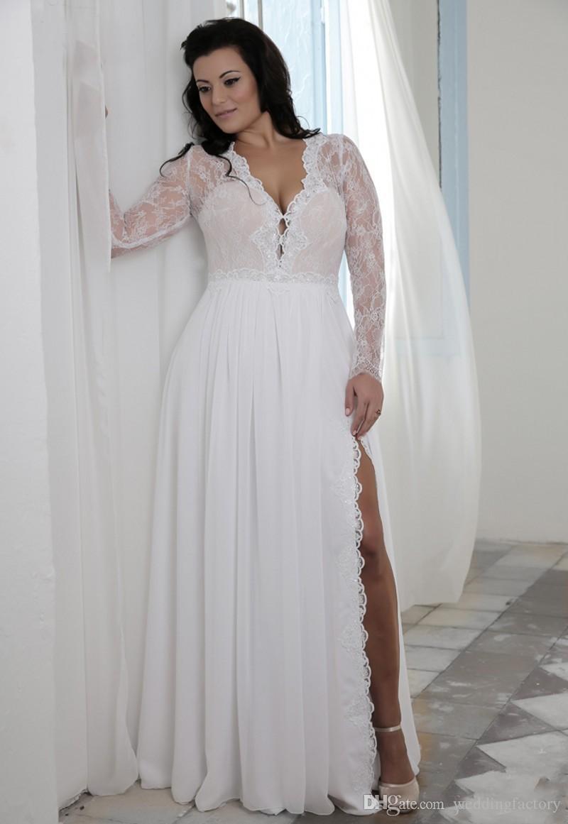 long sleeve lace plus size wedding dress