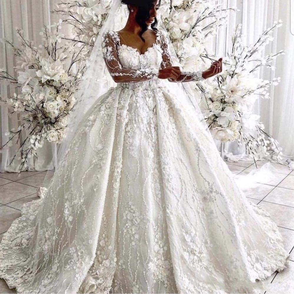 2020 Vintage Ball Gown Wedding Dresses Sweetheart Neckline Hand