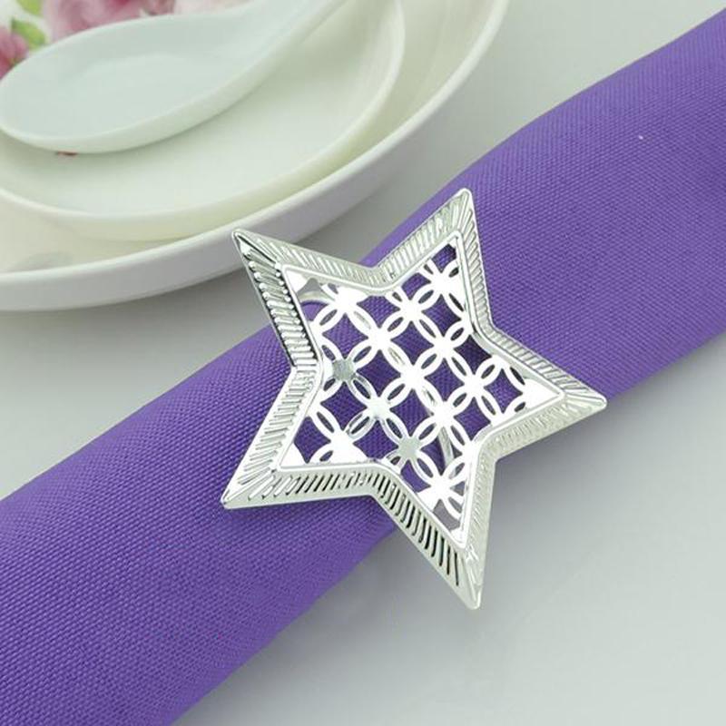 Oco Out metal anéis de guardanapo anéis de guardanapo Aniversários anéis de casamentos Dinner Party Decor Estrela decoração de mesa Guardanapo Buckle