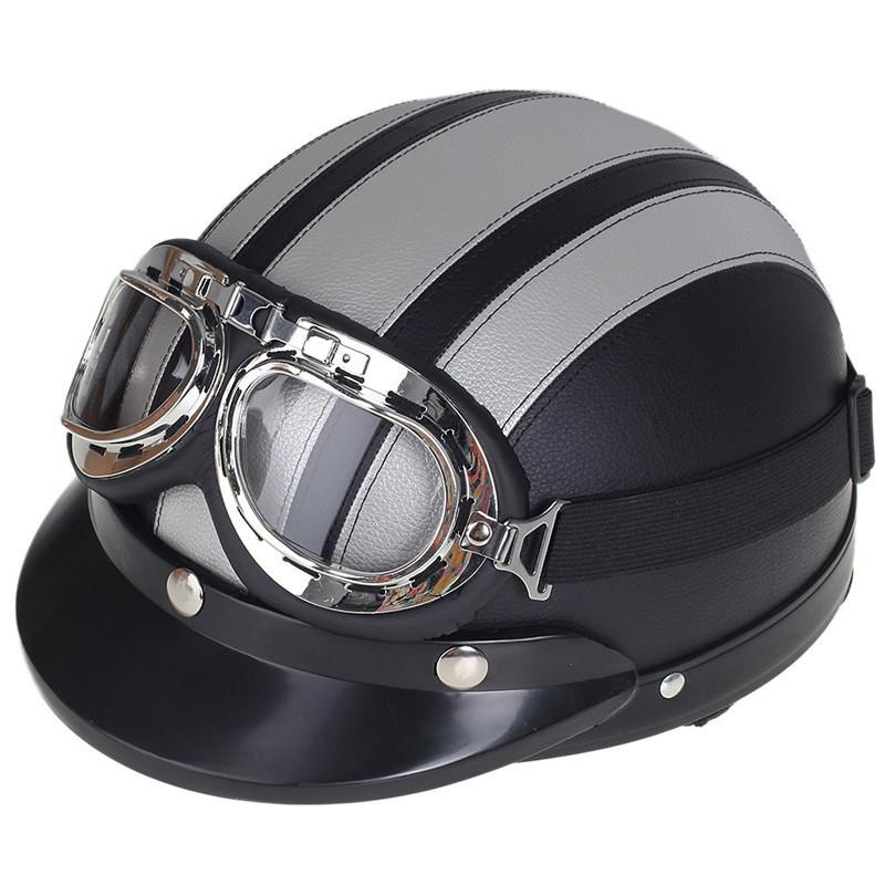 Brand New Vintage Casque de moto Open Face Retro Moto Casques Demi Motocicleta Capacete Casco Casque avec lunettes