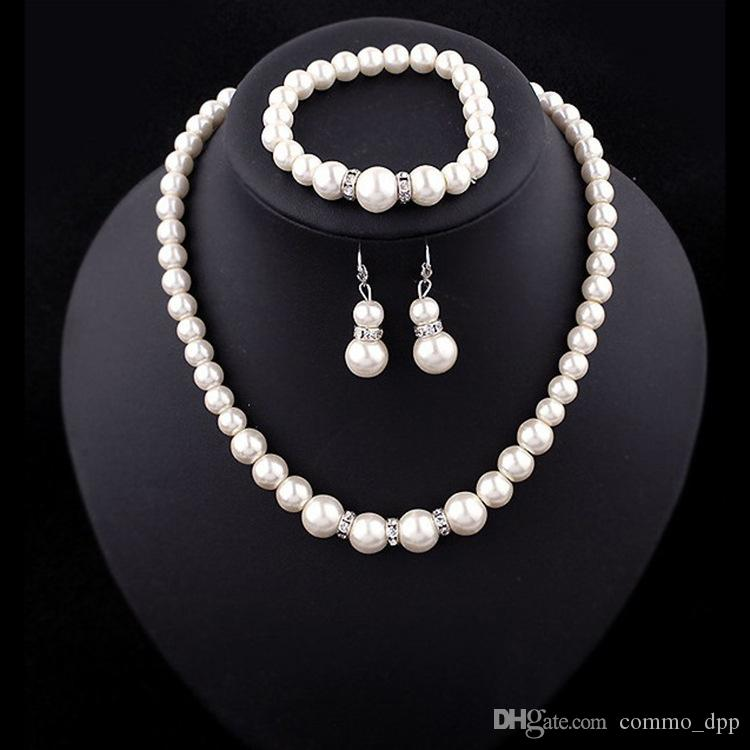 Luxe Faux perle Bijoux définit mariée mariage faux faux Perles artificielles chaînes Colliers bracelet boucles d'oreilles Pour les femmes bijoux de fiançailles