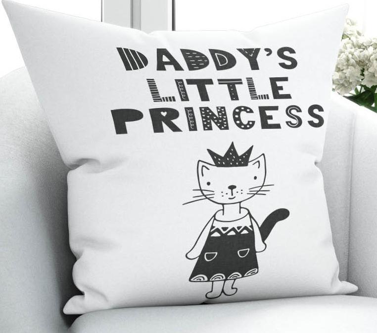Еще черный белый Daddys маленькая принцесса девочка 3D печать микрофибры бросить наволочку чехлы для подушек квадратная скрытая молния 45x45cm