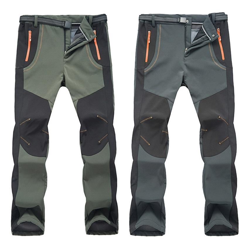 Wholesale-Sport style Winter Men Women Hiking Pants Outdoor Softshell Trousers Waterproof Windproof Thermal for Camping Ski Climbing