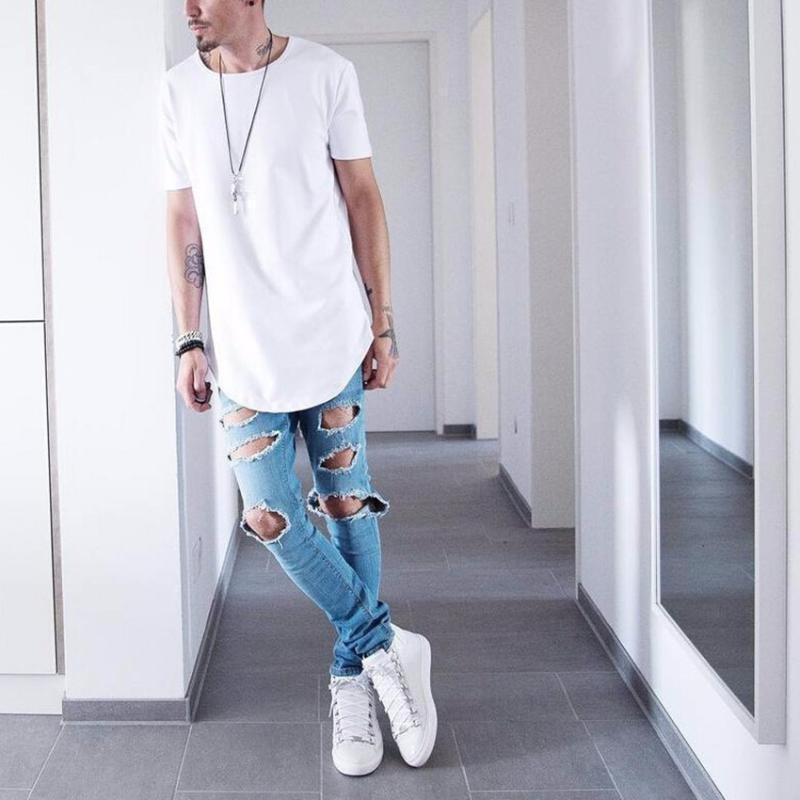 Mens di alta qualità grande e abbigliamento tendenze di design citi alti vestiti T shirt homme curvo orlo Tee pianura bianco esteso Kpop