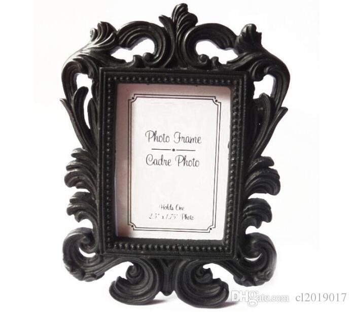 50 adet / Lot Viktorya tarzı Reçine WhiteBlack Barok Resim / Fotoğraf Çerçevesi Yeri Kart Sahibi Gelin Düğün Duş Hediye Şekeri