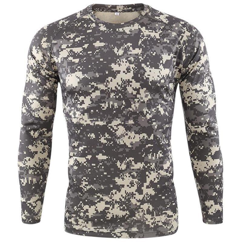 Neue Outdoor-Quick Dry T-Shirt Männer Tactical Camouflage Langarm Rundhals Sport-Armee-T-Shirt Camo lustiges 3D-T-Shirt