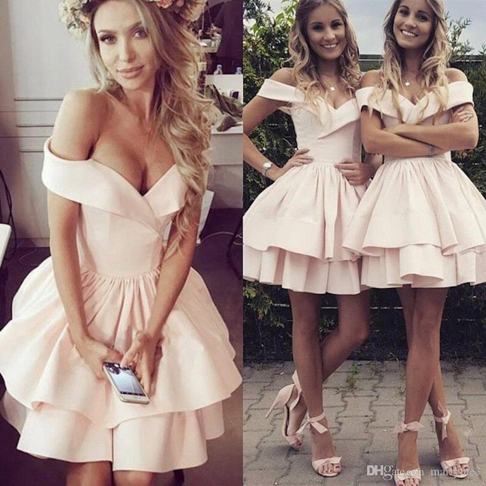Short Prom Dresses 2019 New Arrival Off The Shoulder Homecoming Dresses Satin Tiered Cocktail Party Evening Gown DP0259