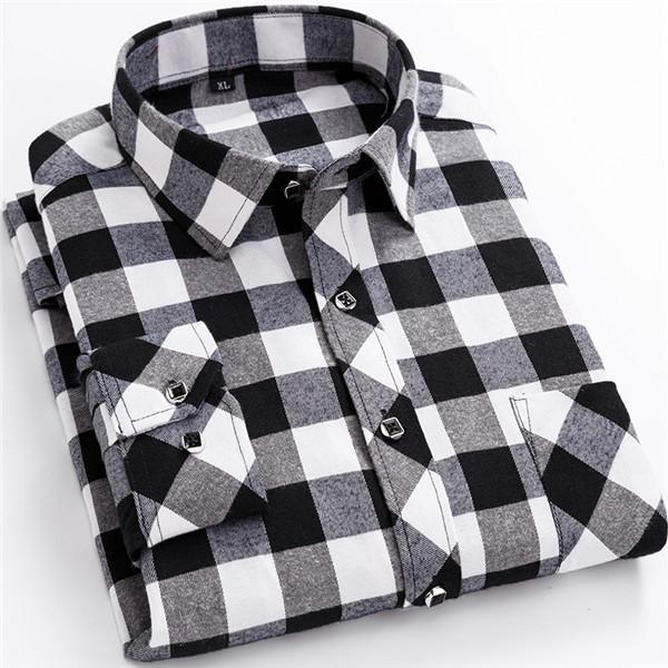 2019 Fashion Men Slim Shirts Autumn and Winter Thickening Warm Plaid 24 Colors
