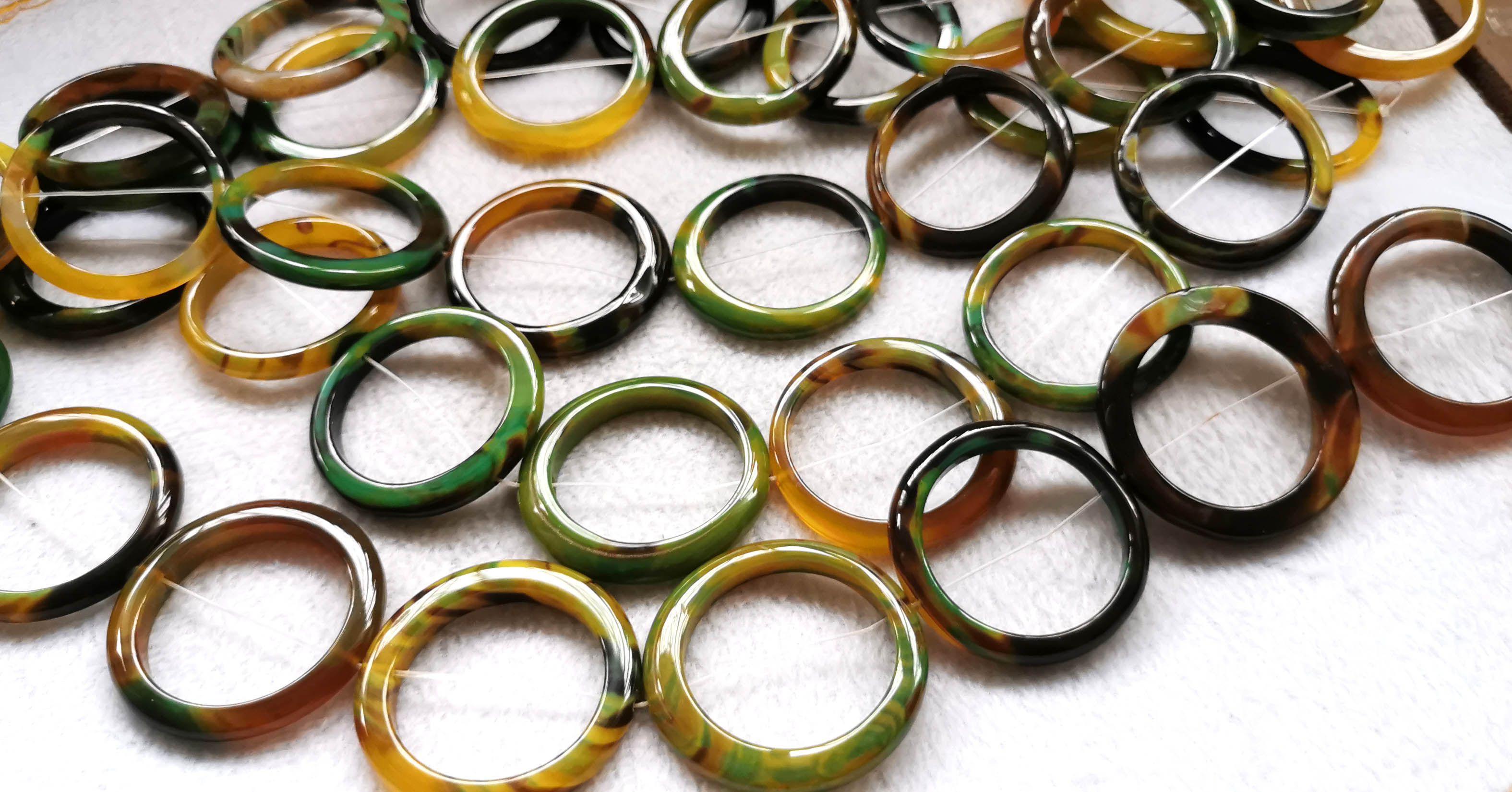 ágata Natural 30-48mm preto rosquinha, círculo verde amarelo azul-jet ônix rodada, pedras semi-preciosas, pérolas de bricolage, pedra preciosa oferta pendant 16 polegadas