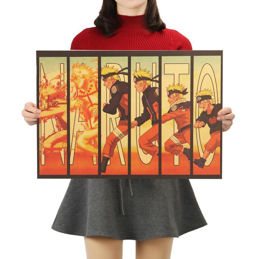 나루토 빈티지 크래프트 종이 클래식 향수 애니메이션 포스터 홈 장식 벽 스티커