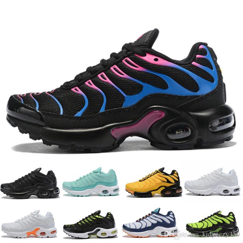 Nike Air Max TN Plus 2019 New Kids Além disso Tn Crianças Pai crianças casual sapatos para Boy Girl Moda Bebê Sneakers Branco Running Shoes externas 28-35
