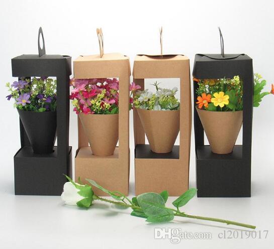 Çiçekler Ambalaj Hediye Kutuları Çiçek Hediye Çantası Deniz Feneri Tasarım Yaratıcı Katlanır Çiçek Ambalaj Kutusu Siyah / Kahverengi ..