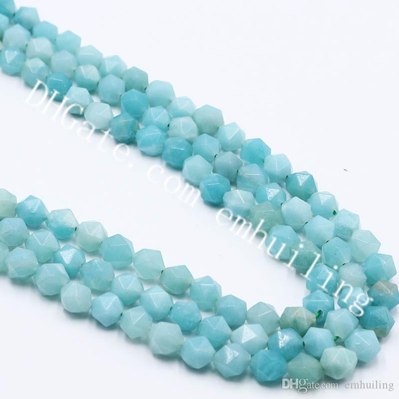 10 Strands Natural Amazonite Star Cut Faceted Nugget Beads 6-10mm Genuine Loose Gems Jewelry Making Beads DIY for Handmade Bracelet Necklace
