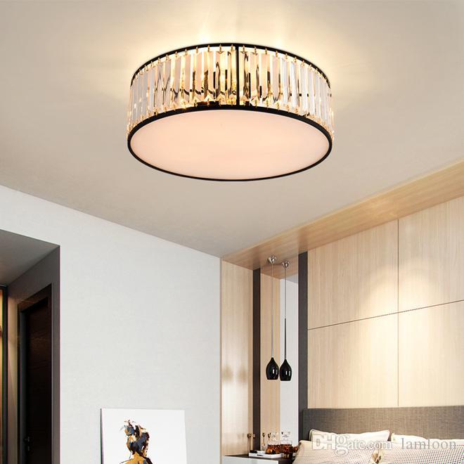 plafond lumière lustre en cristal ronde lumière moderne éclairage des lustres en cristal noir conduit lampe de plafond pour chambre salle d'étude