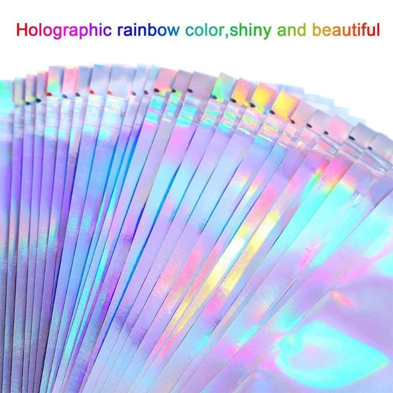 100pcs 4 tamanhos planas sal de banho Cosmetic Bag Bloqueio Limpar Mini Holographic Um Laser Folha Bolsas Grosso colaterais Zip alumínio C9C9