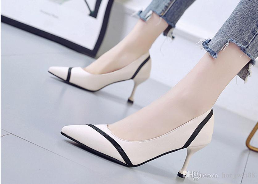 2019 Chaussures femmes au printemps et en automne avec nouveau style talon haut fin extrémité pointue du talon @ TT5633