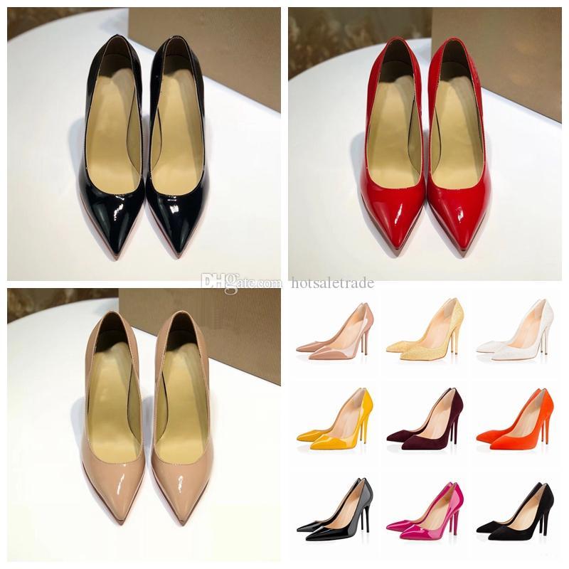 디자이너 신발 하이힐 여성 정품 특허 가죽 드레스 신발 Stiletto 힐 신발 검은 웨딩 파티 드레스 하이힐 8cm 10cm 12cm