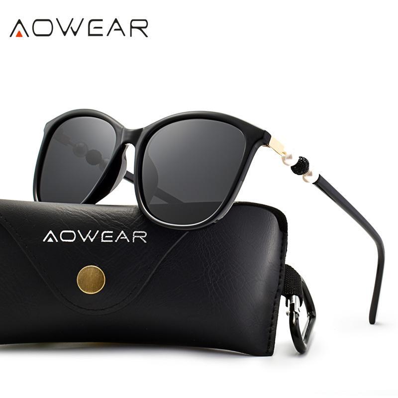 AOWEAR Vintage Polarize Güneş Gözlüğü Kadınlar Sürüş Şeffaf Güneş Gözlükleri 2019 YENİ TASARIM Gözlüğü Shades UV400 Gözlük Gafas De Sol Y200420