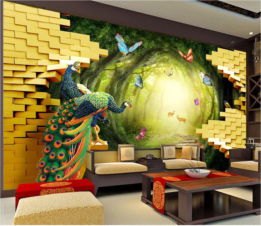 Custom Any Size Wallpaper 3d Golden Garden Peacock Rich 3d Living Room Bedroom Background Wall Decoration Wallpaper Wallpapers For Desktop Background