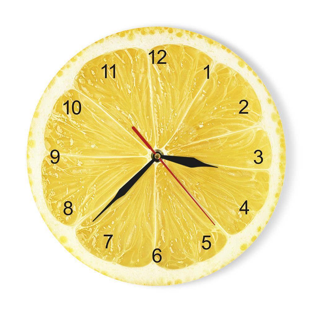 Yellow Lemon Fruit Wanduhr Kalk-moderne Küche-Taktgeber-Uhr Home Decor Wohnzimmer Clock Tropical Fruit Wall Art Uhren Y200109