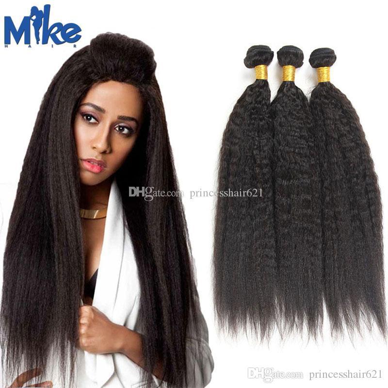 Mikehair Brasileño Kinky Straight Human Hair Human 3 Paquetes peruanos Malasia India Mongolian Weave Weave 8-30 pulgadas Yaki Extensiones de cabello recto