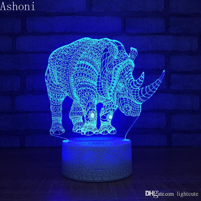 Distance 16 couleurs Thinoceros 3D lampe en cristal RVB changeable Lampe Mood Light Couleur Cool Base Night Light pour enfants cadeau