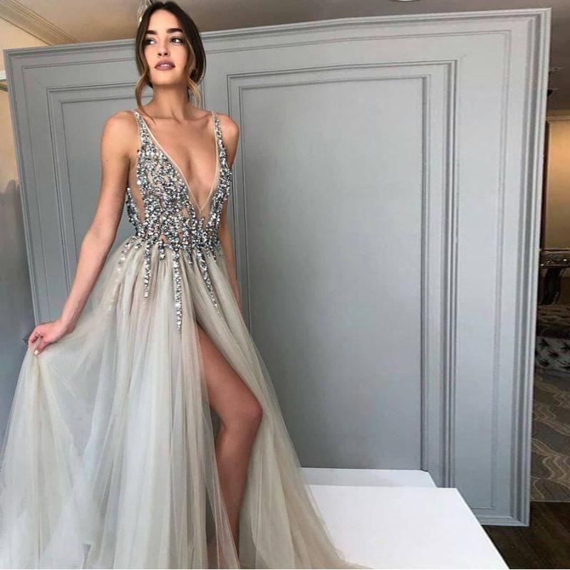 Sparkly Prom Dresses A-line Deep V Neck Spaghetti Straps