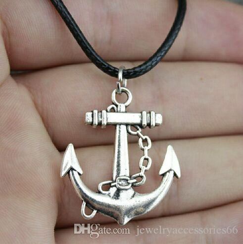 Anchor Charm Pendant Choker Necklace with Black Cord