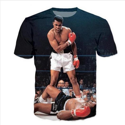Mais novo Novidade Streetwear Homens Mulher Muhammad Ali Estilo Verão Engraçado 3D Impressão Casual O-pescoço T-Shirt Tops Plus Size WR0223