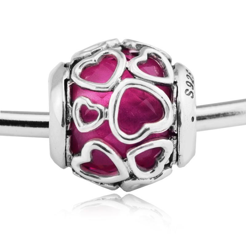 Yeni% 100 Gerçek 925 Gümüş Charm Çok renkli Zarflı Love With Kristal Boncuk Fit Kadınlar Hediye Avrupa Bilezik Diy Takı Yapımı