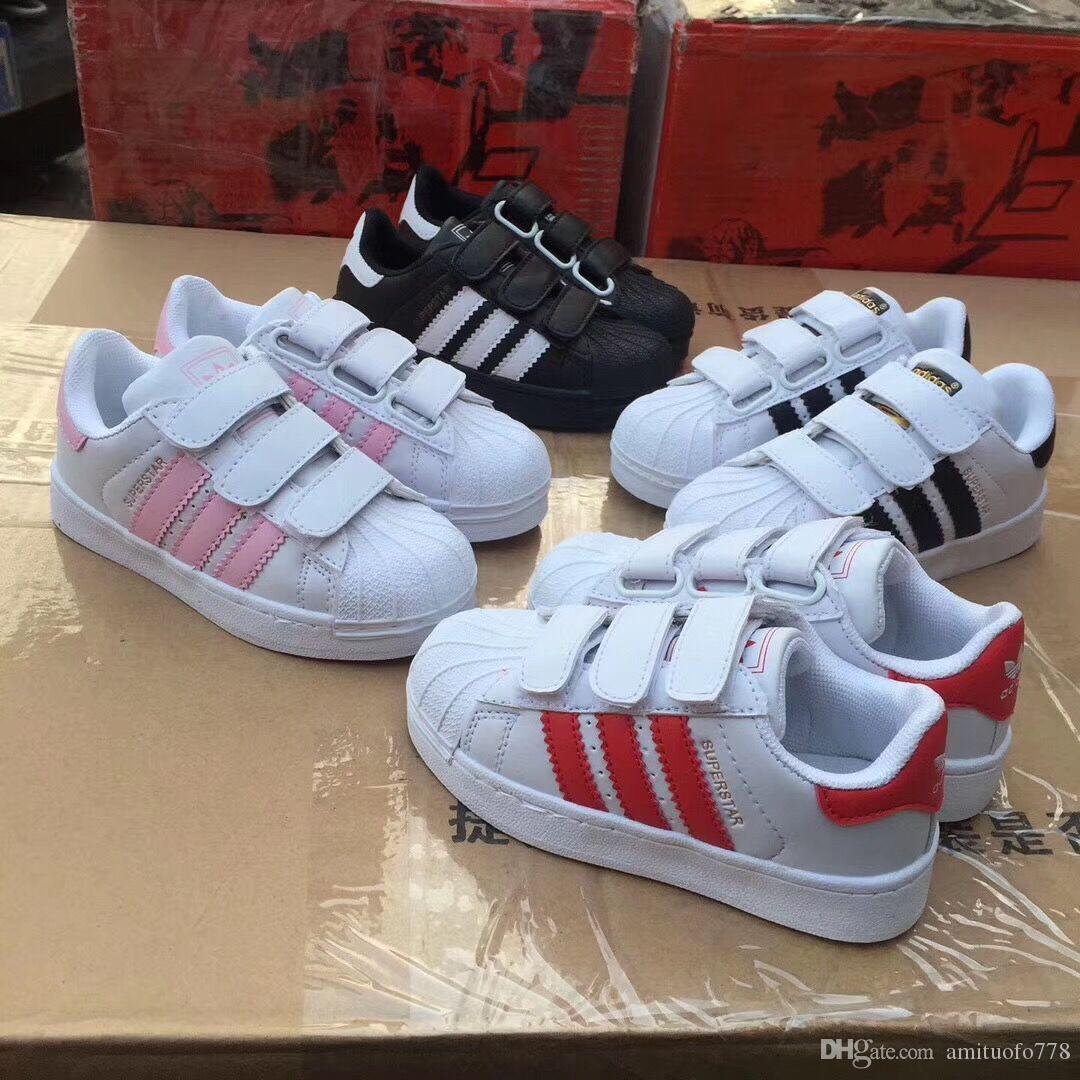 2020 nouvelle marque Shell tête filles garçon Chaussures enfants Superstar Chaussures enfants nouvelles baskets smith mode chaussures stan chaussures de course cuir sport