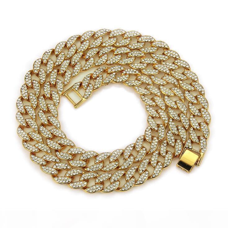 Night club Iced Out Bling Rhinestone Golden Finish Miami Cuban Link Chain Necklace Men's Hip hop Necklace Jewelry 16,18, 20,24,30 Inch