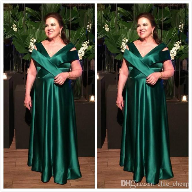 Hunter Green Barato 2019 Vestidos para madre de novia Cuello en v Una línea Satén Vestido para madre de novio Vestidos de fiesta elegantes y sencillos