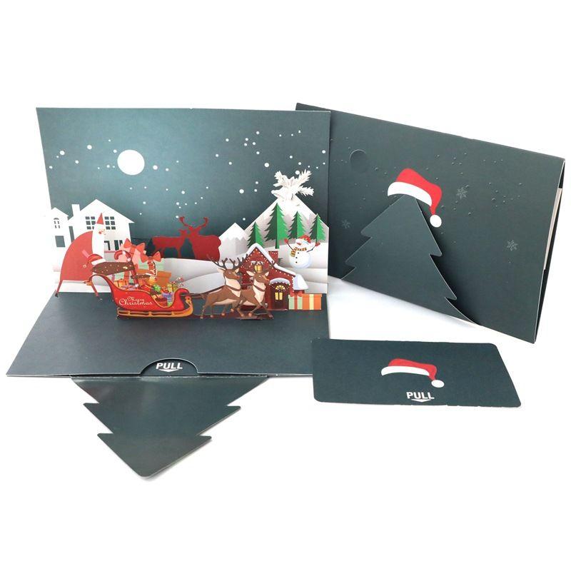 카드 인사말 차원 창조적 인 크리스마스 눈 겨울 선물 팝 UP 크리스마스 카드 크리스마스 장식 스티커 레이저 컷