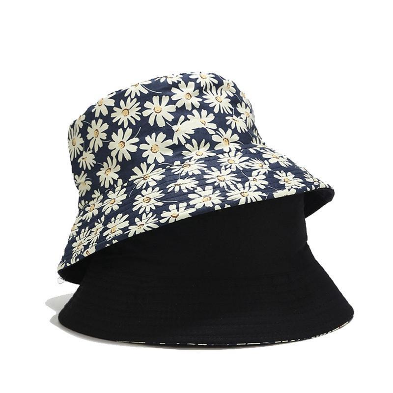 Daisy Imprimé été Chapeau Femmes Mode de plage en coton chapeaux de soleil double face port de chapeau de pêcheur