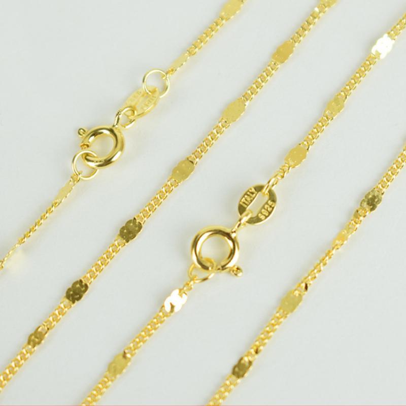 Italia 100% dei monili puro argento 925 Color Oro 1,8 millimetri piatto frustino catena del Choker 40cm / 45 centimetri lunghi per le donne Ragazze
