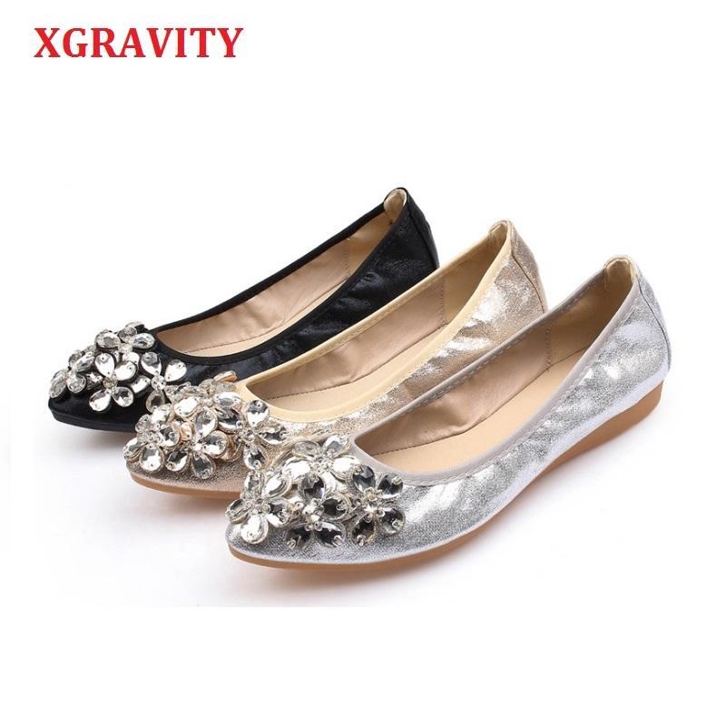 XGRAVITY Sıcak Kristal Flats Ballet Çiçek Düz Ayakkabı Rhinestone Kadınlar tasarlanan Kız Çiçek Sivri Burun Altın Ayakkabı loafer'lar C287 T200513