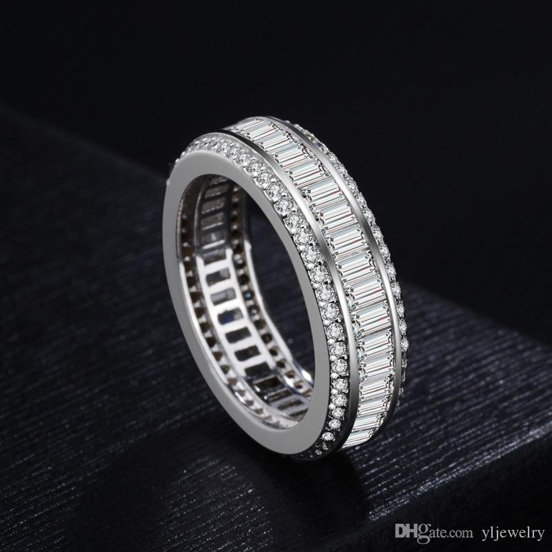 100% 925 Sterling Silver Three Rows Luster Of Gem Rectangular Couple Engagement Women Luxury flashing European Mens Rings Jewelry Gift XR085