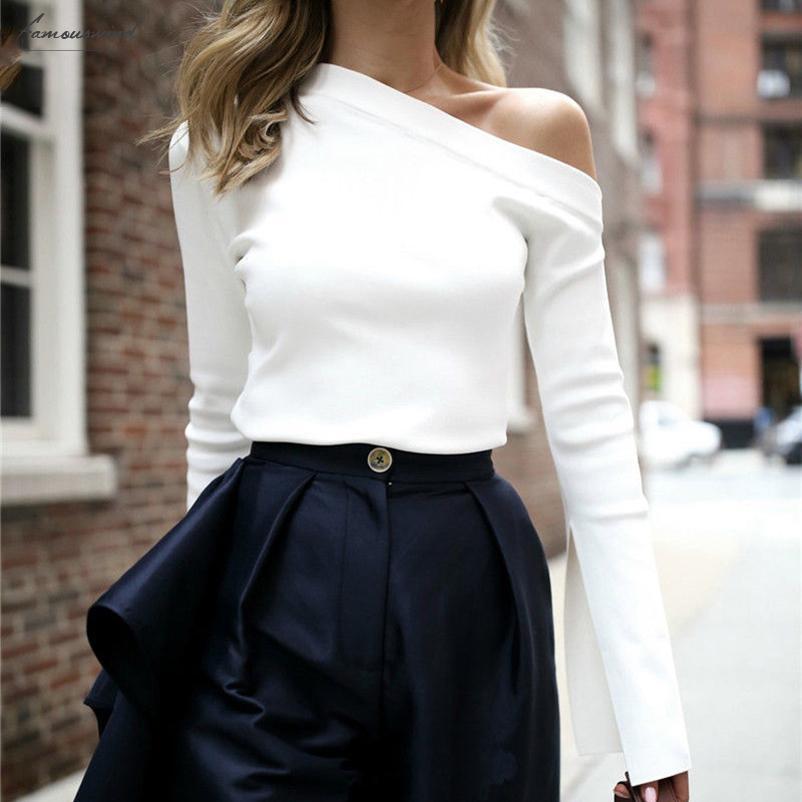 جديد بلوزة أزياء الخريف معطلة الكتف واحد المرأة كم طويل القطع قمصان الرقبة الأبيض عارضة محبوك البلوز المرأة بلايز