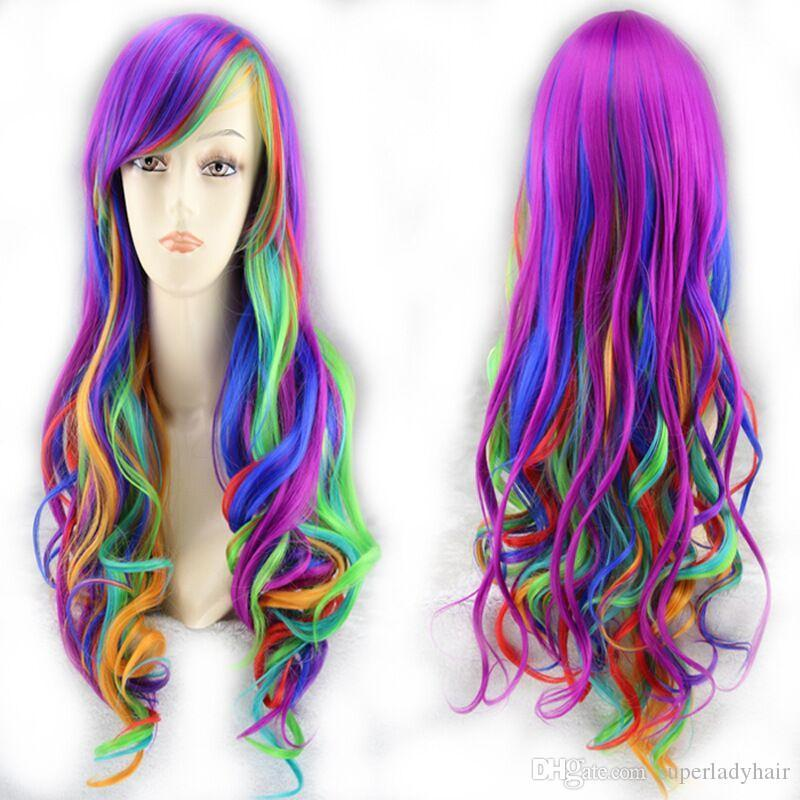 fashion mixed color rainbow gradient wavy long curly hair Christmas anime cospaly wig women's synthetic wigs hair wigs hairpieces