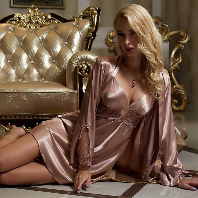 Silk Robe Sets Sets Femminile Silky Faux Silk Sleepwear Donna sexy del ricamo del merletto accappatoi Camicia da notte a due pezzi X8207
