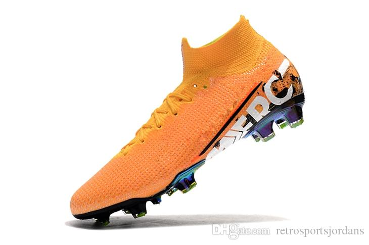 Großhandel Nike Mercurial Superfly 7 VII Elite FG Schuhplatten Blue Hero Mercurial Superfly 7 360 FG Elite Orange Schuhplatte CR7 Fußballschuhe
