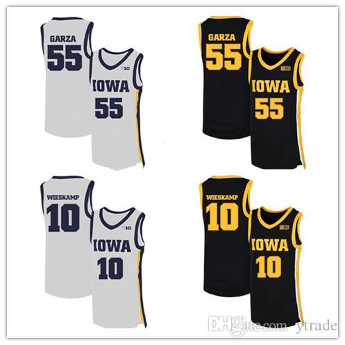 2020 NCAA Iowa Hawkeyes jerseys 55 Luka Garza 10 Joe Wieskamp Escuela de Baloncesto jerseys de encargo Luka Garza jerseys Negro Blanco S-3XL