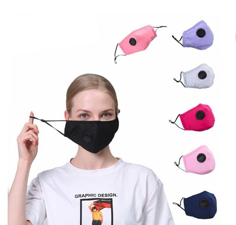 Máscaras reutilizables unisex de algodón de la cara de la válvula con la respiración boca PM2.5 la máscara anti-polvo Tela Fliter Máscara lavable nave de la gota ePack