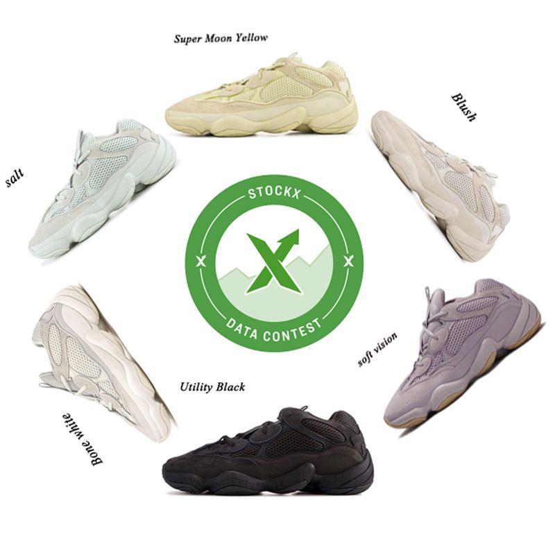 New Stone Soft Vision Kanye West Desert Rat 500 Men Women Running Shoes Designer Bone White Salt Super Moon Yellow Blush Sport Sneakers