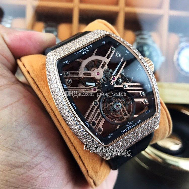 Top version V 45 T SQT SAPPHIRE Skeleton Tourbillon Dial Rose Gold Diamond Steel Case Automatic Mhanicecal Mens Watch Leather Strap Watches