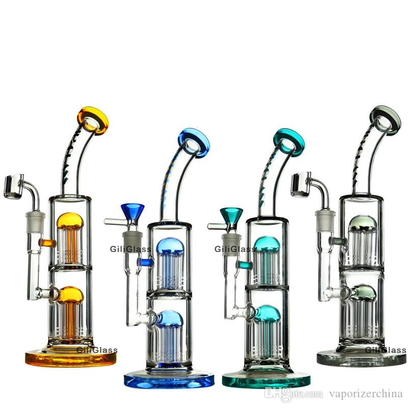 Heady glass bong dab rig with quartz banger bowl Double tree perc dabber water pipe oil rigs bubbler bongs dabbing pipes free shipping