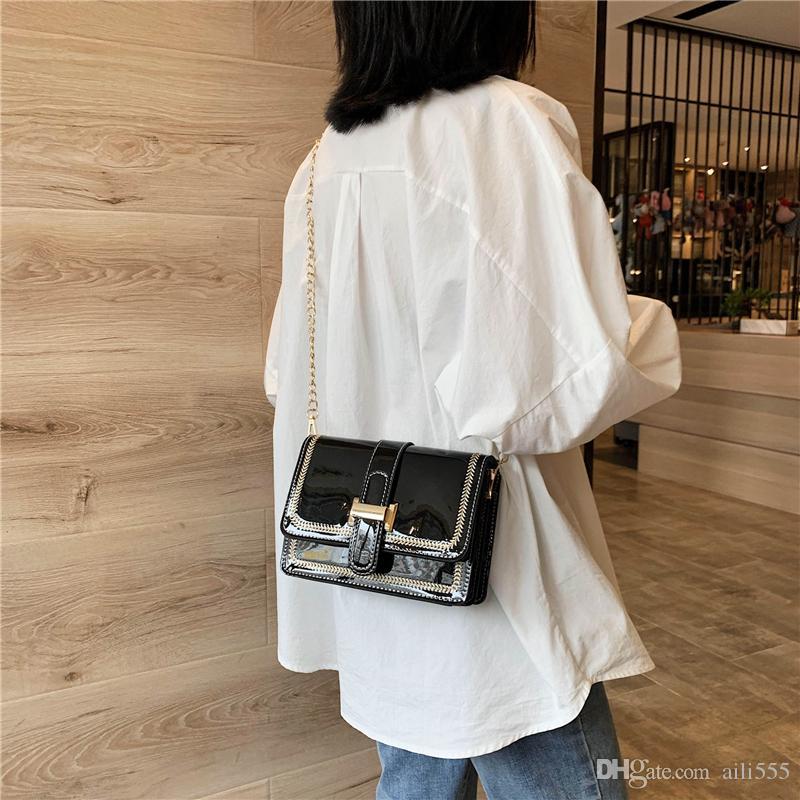 2020 venta caliente China marca envío Bolsas de hombro cuadrado de la manera de las mujeres de la tela escocesa diseñador de los bolsos del mensajero de cadena más nuevos Señora Lexiang1 / 03