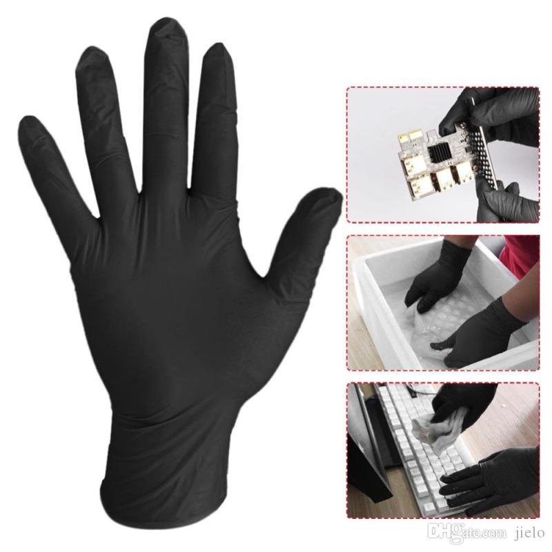 100pcs / lot lavano i guanti di gomma comodi a gettare Meccanico nitrile guanti neri lavaggio delle stoviglie Guanti Guanti Para Lavar Platos